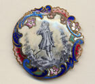 Beautiful  Enamel Black and White Enamel Young Man with Rococo Colored Border