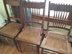 Dinning Chairs, Oak Victorian Antique Double Pressed Back - Set of 5