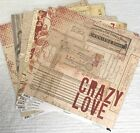 Lot of 7 Gypsies 12x12 Lille Paper double sided cardstock vintage NEW