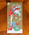 Vintage UNUSED Christmas Card GLITTER EMBOSSED MAILBOX FILLED GIFTS MID-CENTURY
