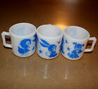 Vintage Hazel Atlas Child's Kids Milk Glass Bunny Dog Duck Cup Mug Blue White