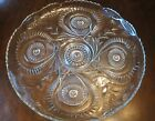 Vintage L.E. Smith Glass Punch Bowl Underplate Pinwheel Star Slewed Horseshoe