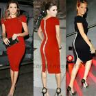 Women Bodycon Pencil Dress Puff Sleeve Party Formal Office Casual Work Red/Black