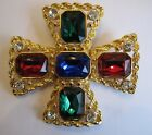 AMAZING 80s HUGE COUTURE MALTESE RHINESTONE CROSS BROOCH PIN HOLIDAY STATEMENT