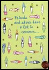Birthday Shoes Heels Friends Flowers Plaid GLITTERED Greeting Card NEW