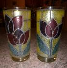 VINTAGE DRINK GLASSES CLEAR STAINED GLASS TULIP FLOWER TUMBLERS Vinyl Coated HTF