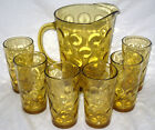 Vintage Continental Can/ Hazel Atlas EL DORADO DOTS Amber PITCHER  w/ 6 GLASSES
