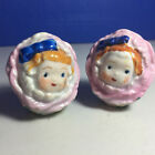 Anthropomorphic Cute Flower Face Girl Salt and Pepper Shakers Vintage Japan