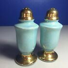Decorative Vintage Lusterware Blue with Gold Tops Base Salt and Pepper Shakers