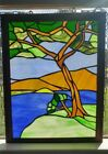 Vtg 70s Handcrafted Large Wood Framed Stained Glass Window Panel Nature Tree