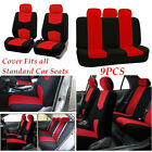 RED 9PCS Lowback Flat Cloth Full Set For Car Seat Covers Interior Accessories