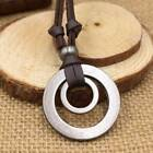 Men Women Double Ring Adjustable Leather Cord Necklace Pendant Jewelry B