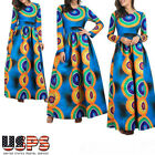 African Womens Lolita 3D Print Boho Long Sleeve Party Maxi Dress Plus Size US