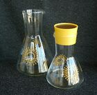 Set of 2 Pyrex Carafe Decanter Pitchers Beaker Shape Atomic Starburst Sun w/Lid
