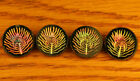 Matching Set of 4 Antique Black Glass Buttons, Carnival Luster Feathers