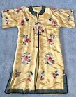 Antique CHINESE Golden Yellow Silk FLORAL EMBROIDERY Robe super Banding