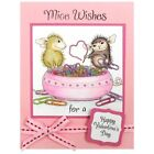 House Mouse 1998 Paper Clip Heart 92 Stampa Rosa Wood Mount Stamp Valentines