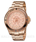 $795 ROBERTO CAVALLI WATCH by FRANCK MULLER 40mm ROSE GOLD TONE LOGO CRYSTALS