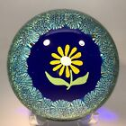 Vintage Murano Art Glass Paperweight Hand Painted Flower with Complex Millefiori