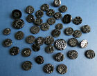 GROUP of 41 BLACK GLASS MOURNING BUTTONS For Jewelry  Crafts No Shanks