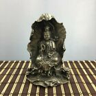 China Old copper plating silver Lotus Leaf Kwan-yin Guan Yin Goddess Statue e02