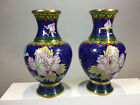 Cloisonne Pair of Vases Chinese Export Antique Rare Beautiful Asian Works