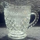 PERFECT MINT ANCHOR HOCKING WEXFORD PATTERN CLEAR CRYSTAL CREAMER PITCHER