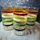 (6) Vintage Banded / Fiesta Stripe Juice Glasses Anchor Hocking - MINT 4.75