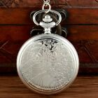 Full Hunter Pocket Watch Pendant Space Time Vintage Necklace Antique Chain Retro