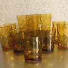 Vintage Anchor Hocking Amber Glassware Set 11 Optic Diamond Made USA MCM Gold