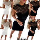 Women Sexy Bodycon Sleeveless Evening Party Cocktail Club Short Mini Dress Lace