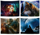 4 pieces power animal wolf native wall hanging tapestries desk art