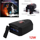 12V ATV Motorcycle Dual USB Phone Charger Handlebar Mount For Tablet GPS+Switch