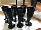 Set Of 6 Black Amethyst Depression Glass Long Love Cup