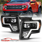 2009 14 Black Headlights pair For Ford F150 LED Bar Driver And Passenger