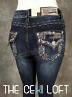 Womens GRACE IN LA Bootcut Jeans Native Aztek Embroidered Trim Sequins Pockets