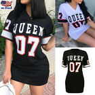 Women's Queen V Neck Tops Summer Casual Loose Short Sleeve T-Shirt Mini Dress US