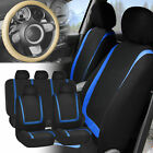 Car Seat Covers For Auto Blue Black Full Set Wbeige Leather Steering Wheel