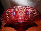 Vintage L.E. Smith Red Carnival Glass Banana Bowl Fruit Heritage Scalloped