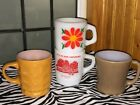 4 Anchor Hocking Fire King Camelot Thumbprint Taupe D Flower Quakertown Pa. Mugs