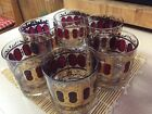 Six Vinrage CULVER Wine and Gold Low Ball Glasses