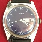 Vintage Timex 1970's Great Britain Black Dial With Leather Strap Runs