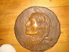 ANTIQUE RARE BRONZE 3lbs 28oz NATIVE AMERICAN BRAVE WALL PLAQUE CHIEF WOLF ROBE