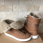 UGG STARLYN CHESTNUT LEATHER FUR HI TOP SHOES SNEAKERS ANKLE BOOT SIZE 65 WOMEN