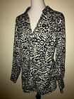 Charter Club Black Off White Animal Print Career Dress Blouse 16W XL Excellent