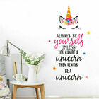 Unicorn Wall Stickers Quote Always Be Yourself Kids Room Home Decor Trend