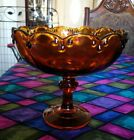 thick brown glass round bowl with stand