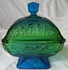 Jeannette Blue and Green Acorn and Oak Leaf Covered Candy Dish