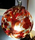 Kitras Art Glass Orb CALICO WINE Ornament Witch Ball Multi Color 3