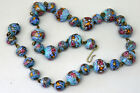 Stunning Vintage Hand Made Murano Glass Embossed Gold Sparkling Necklace 15
